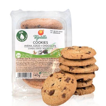 Cookies de avena con coco y chocolate bio 140 gramos vegetalia