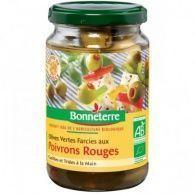 Aceitunas verdes rellenas de pimiento rojo bio 190 gramos bonneterre