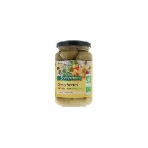 Aceitunas verdes rellenas de almendras bio 190 gramos bonneterre
