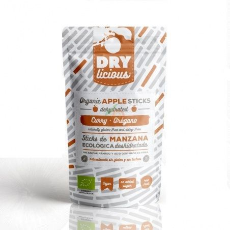 Sticks de manzana eco deshidratada curry oregano 25 gramos drylicious