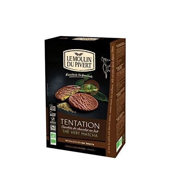 Galletas tentación chocolate y té verde matcha 130 gramos le moulin du pivert