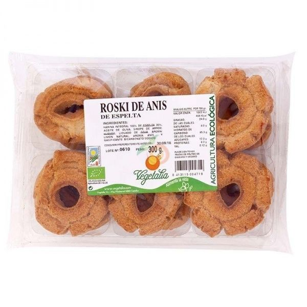 Rosquillas de espelta con anís 300 gramos vegetalia