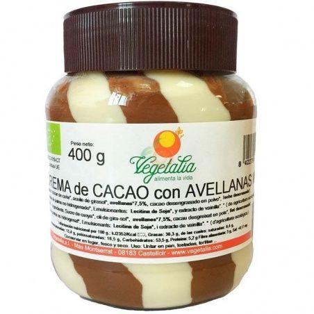 Crema de cacao con avellanas mixta 400 gramos vegetalia