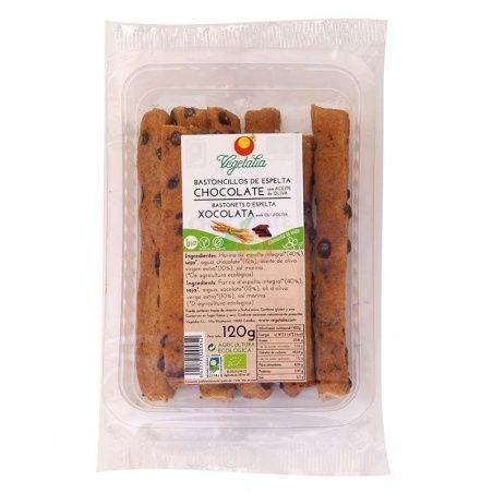 Bastoncillos de espelta con chocolate 120 gramos vegetalia