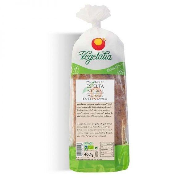 Pan de molde de espelta integral 480 gramos vegetalia