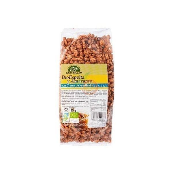 Espelta y amaranto con crema de avellanas bio 125 gramos int-salim
