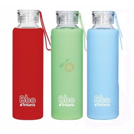 Botella de vidrio bbo rojo 550 ml irisana