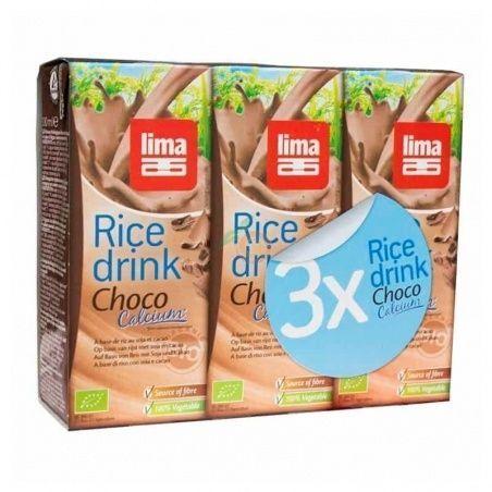Bebida de arroz chocolate calcio bio 3 x 200 ml lima