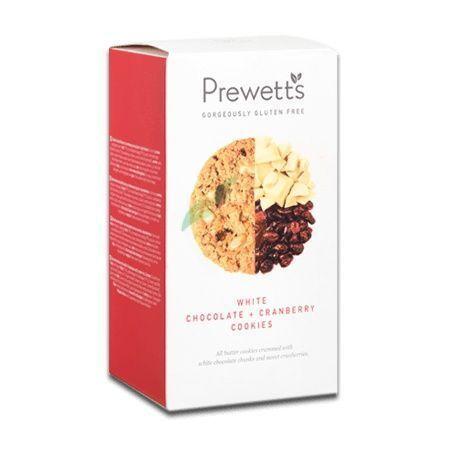 Cookies de chocolate blanco y arándanos 150 gramos prewetts