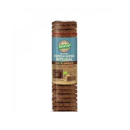 Galletas copos avena integral con chips de chocolate bio 250 gramos biocop