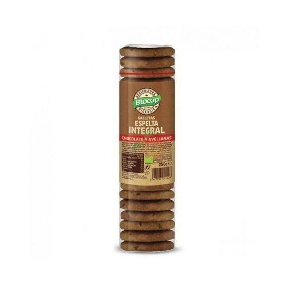 Galletas de espelta integral chocolate y avellanas bio 250 gramos biocop