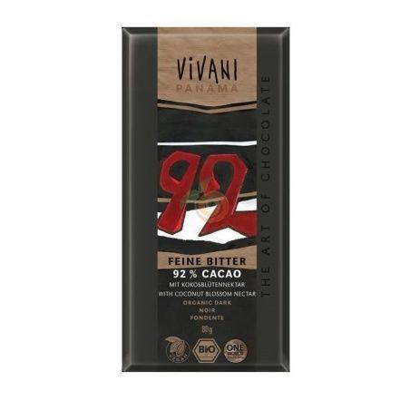 Chocolate negro 92% cacao 80 gramos vivani