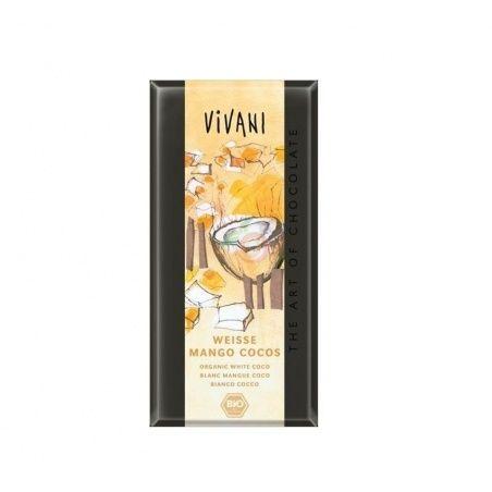 Chocolate blanco con mango y coco 80 gramos vivani