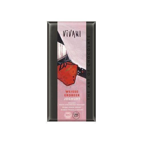 Chocolate blanco con fresas y yogur 100 gramos vivani