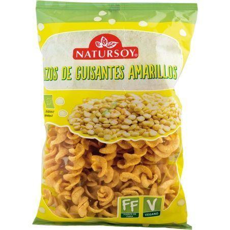 Rizos de guisantes amarillos bio vegano 70 gramos natursoy
