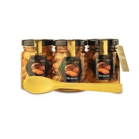 Pack mieles con frutos secos y cuchara alemany