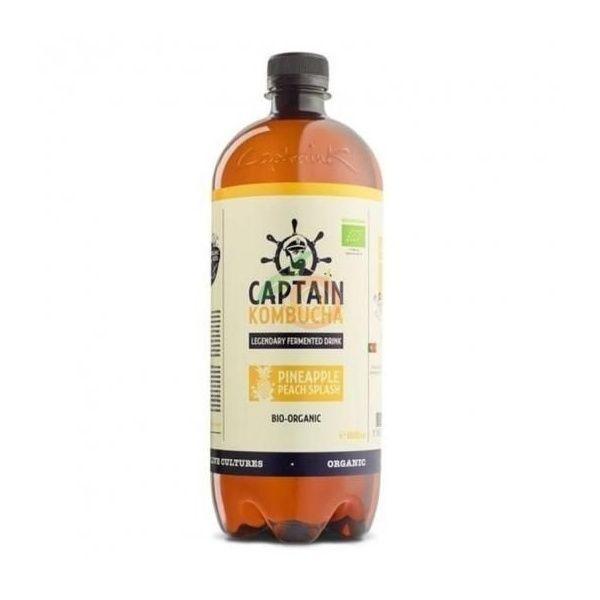 Bebida kombucha piña y melocoton bio vegano sin gluten captain kombucha