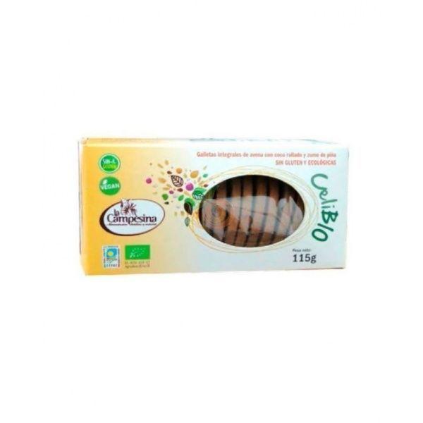Galletas integrales de avena con piña y coco eco 115 gramos la campesina