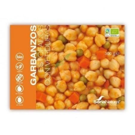 Garbanzos estofados con verduras bio 300 gramos soria natural
