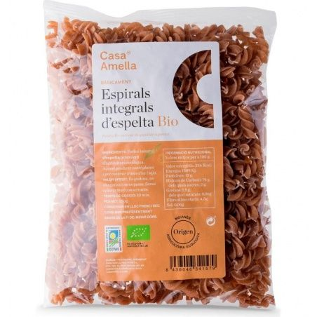 Espirales integrales de espelta bio 250 gramos casa amella