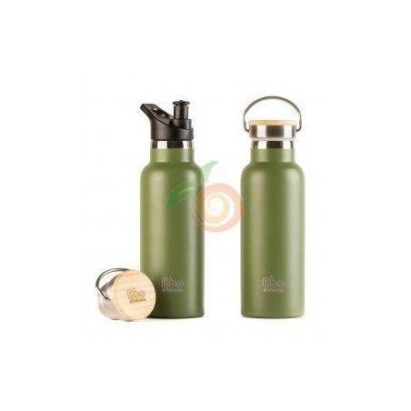 Botella termo de acero inoxidable verde tapón bambú 500 ml irisana