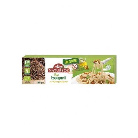 Espagueti de arroz integral sin gluten bio vegano 500 gramos natursoy